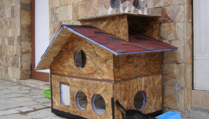 зимняя будка для кошки своими руками