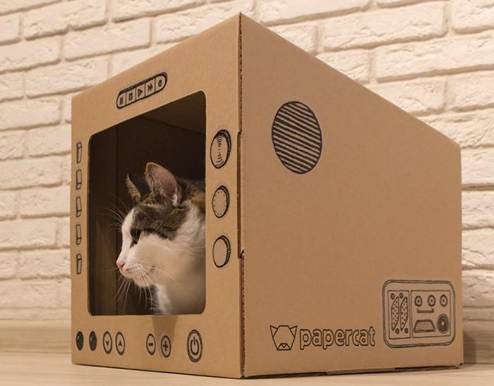 домик для кота из картона