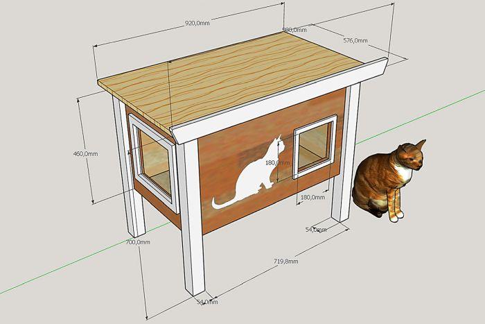уличный домик для кошки чертеж и размеры